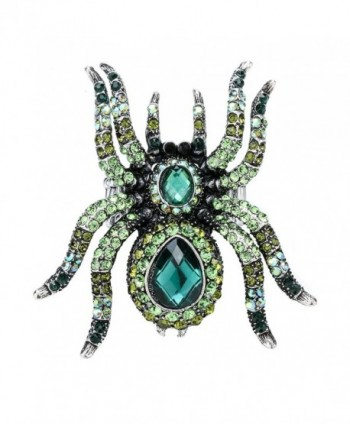YACQ Jewelry Rhinestone Spider Stretch Ring Halloween Party Scarf Ring Buckle Clip Women - Green - CC17YQH4TNT