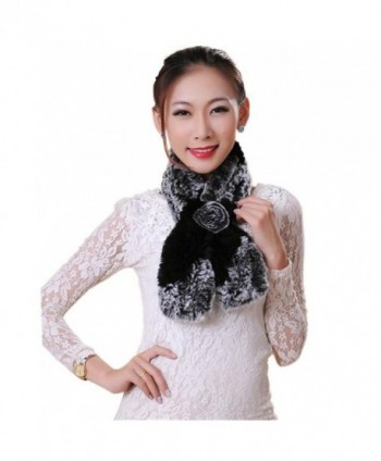 Deamyth Women Winter Rabbit Fur Neckerchief Rose Flower Scarf Scarves - Black - CK12N865SZK