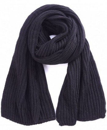 Soft Winter Scarves Warm Knit Scarves for Outdoor Knitted Womens Scarves - Black - CI188LTCM8T