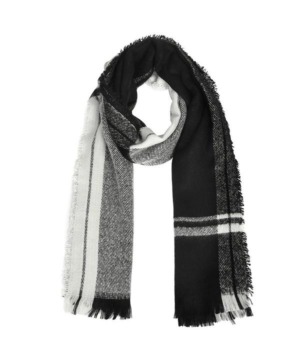 Vbiger Unisex Oversized Plaid Scarf Warm Wrap Shawl Thickened Winter Pashmina for Men Women with Tassels - Black - CX187XA0NQ4