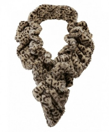 Women's Faux Fur Scarf - Scrunchie Loop Neck Wrap - Leopard - C5187USNIC5