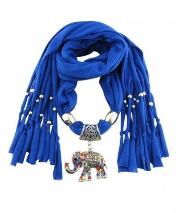 Mosunx Women Lady Winter Elephant Pendant Necklace Scarf Tassel Warm Scarves - Blue - CT128ZMRBC1