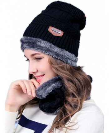 Aukmla Winter Thicker Warm Beanie Knitting Hat Scarf Set for Men and Women - Black - CU189ILIXT6