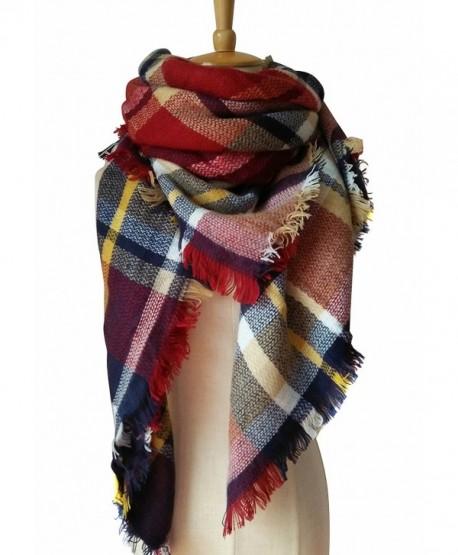 MOTINE Tartan Blanket Scarf Stylish Winter Warm Pashmina Wrap Shawl for Women - Burgundy - CP12N10QJSN