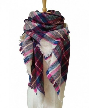 DB MOON Women's Tartan Plaid Blanket Fashion Scarf Wrap Shawl ( Oversized ) - 5 Beige and Pink - CB12NSWMET8