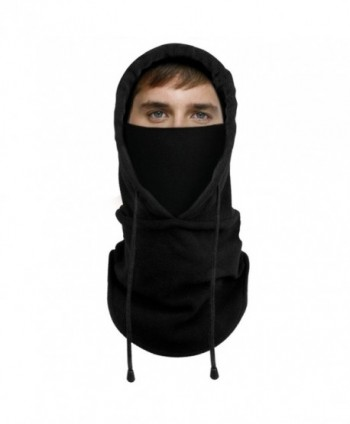 Lonew Balaclava Fleece Hood Heavyweight - Black - C0188HMKOM2