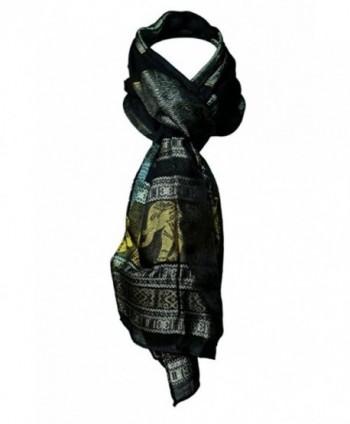 Oma Thai Elephant Silk Scarf Head Wrap Purple & Gold- LARGE SIZE - Black/Gold - CM12MXX0IB0