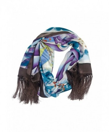 TexereSilk Women's 100% Silk Shawl Wrap - Hand Painted Gifts for Her AS0001 - Multicolored - C411270YFHR