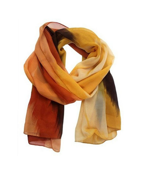 Luweki Fashion Ink painting chiffon Scarves - Orange - CU12MTYOXZT