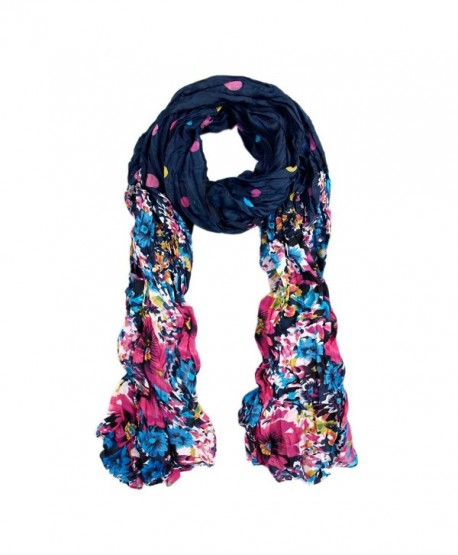 Premium Polka Dot Flower Print Scarf - Different Colors Available - Navy - CD11FQD4BXF