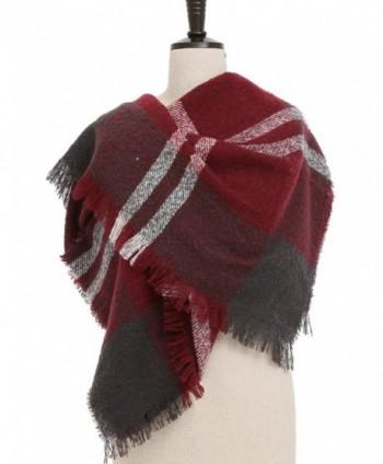 VESTIR Women's Plaid Blanket Scarf Winter Warm Cozy Tartan Soft Shawl Wrap Oversized - Wine Red - CX186XUS3TE