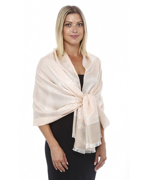 GILBIN'S Paisley Print With Gold Stripe All Weather Pashmina Scarf Shawl Wrap - Cream - C4124URQ36Z