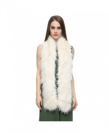 Dikoaina Women's Men's Extra Large Faux Fox Raccoon Fur Scarf Collar Stole Shawl - White Raccoon - CQ18499Z7IG