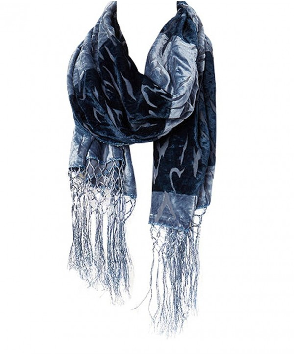 Amtal Women Safari Animal Design Velvet Silk Burnout Oblong Scarf w/Tassels - Gray - CY12O0906A2