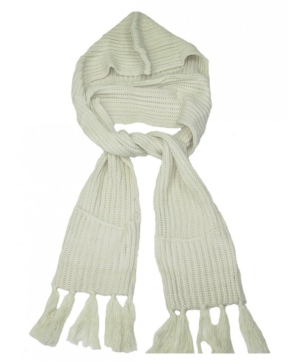 Lovarzi Unisex Hooded Scarf with Pockets - Knitted winter hooded scarves - Off White - CK11QG3LUWT
