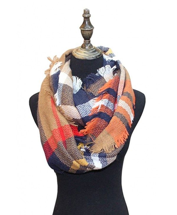 BomoWell Women Scarf Warm Plaid Print Infinity Circle Loop Winter Scarves - Type 17 - CV186S8X00Y