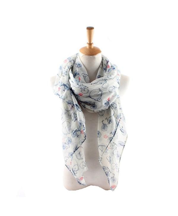ctshow bicycle Print Voile Print Scarf Fashionable Women Scarves shawl - White - CG182H26X43
