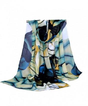 Sandistore Fashion Lady Long Wrap Women's Shawl Chiffon Scarf Scarves - Blue - CW12MZT7SXR