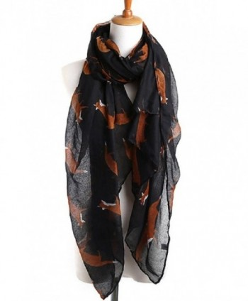 Sannea Lovely Fox Print Chiffon Scarves Scarf for Women/Girls - Black - C0125S66NE9