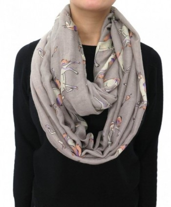 Lina & Lily Unicorn Horse Print Infinity Women's Scarf Lightweight - Grey - CP11R49INVF