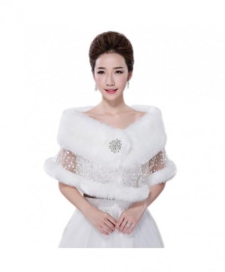 Women's White Sequins Faux Fur Shrug Wrap Shawl Bridal Bolero Stole Jacket Evening Party Dresses CP02 - White - CU12O76QHSO