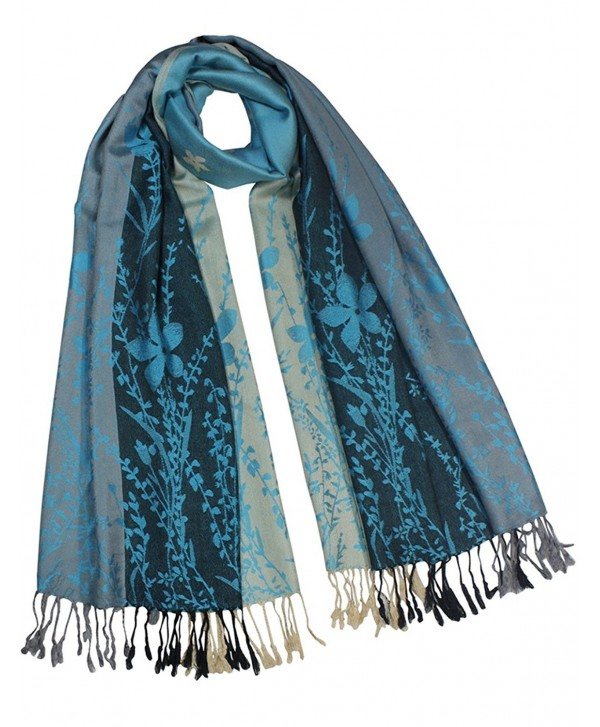 Dahlia Women's Rayon Scarf Shawl - Reversible Triple Panel Wild Flower - Blue - CR110TWJZCF