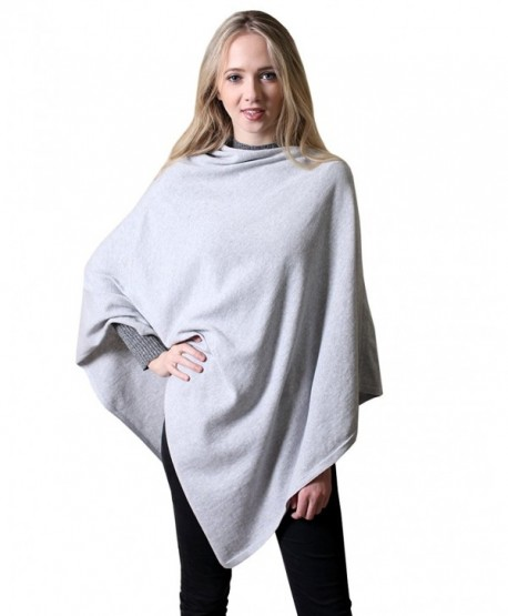 100% Organic Cotton 5-Way Knit Poncho Sweater Pullover Topper Wrap Cardigan (12 COLORS) - Light Grey - CA1886W7W4M