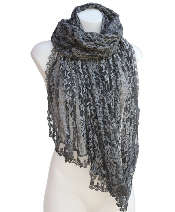 Terra Nomad Women's Italian Lace Scarf Shawl Shoulder Wrap - Dark Gray - CG1867IZ3H3