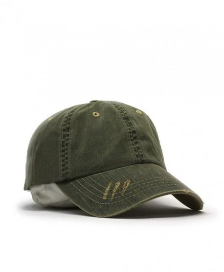 Distressed Dirty Wash Herringbone Cotton Adjustable Baseball Cap - Olive Green - CQ186M9YOYU
