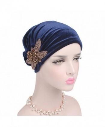 Turban Head Fabal Woman Velvet Turban Headband Wraps Hijab Head Scarf - Navy - C9185ER5YX0