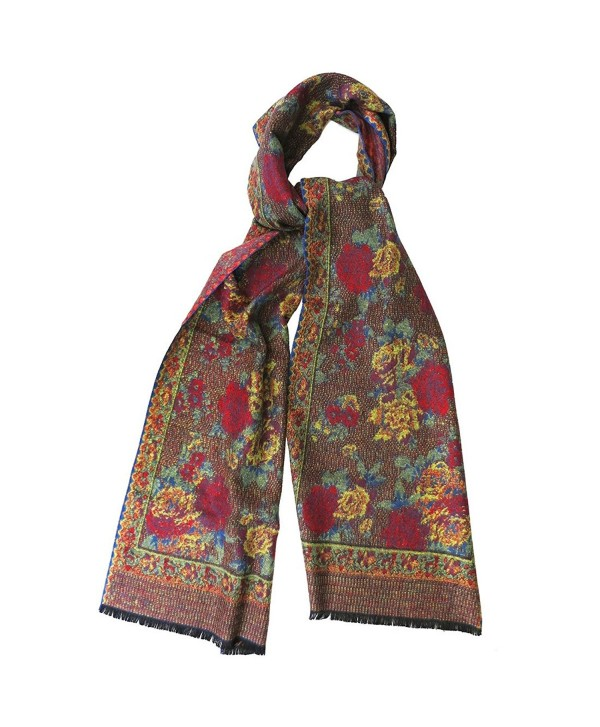 Topaz Sun Tapestry Rose Print Cashmere Scarf Red Multi - CO187608H40