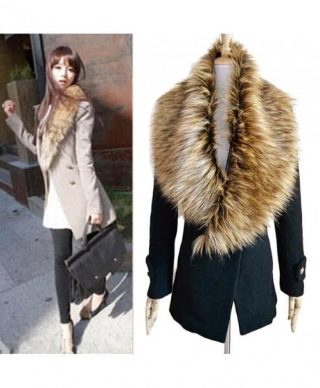 DZT1968 Women Faux Fox Fur Collar Scarf Shawl Collar Wrap Scarves - C - CF1280IHWFB