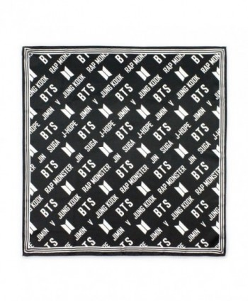 Fanstown kpop black diagonal logo and member name 25.5&times25.5 inch Square scarf kerchief bandana - Bts - CT188WR3I59