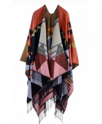 Hiwil Womens Bohemia Tassels Knit Cashmere Ponchos Long Pashmina Kimono Cardigan Shawls - Orange - C4185OXL09X