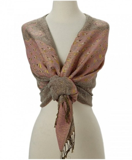 Tan's Double Layered Gold Thread Reversible Peacock Pashmina Scarf Shawl Wrap - Baby Pink & Taupe - CA12MY79LGC