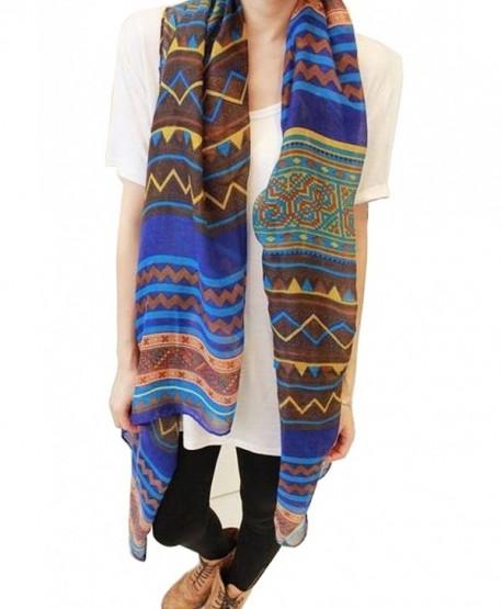 Fashion Women Long Voile Tribal Aztec Scarf Shawl Muslim Hijab Bohemian Voile Scarf - CI11QWRK6DD