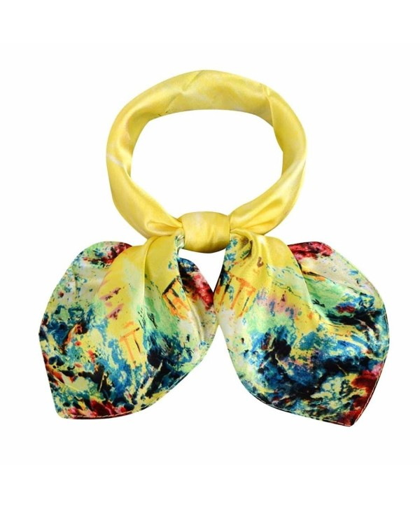Deamyth Women Colorful Square Scarf Occupation Shawl Wrap Tie Scarf Satin - Yellow - CQ12NYT45AO