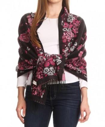 Sakkas Ontario double layer floral Pashmina/ Shawl/ Wrap/ Stole with fringe - 2-black / Pink - C1189IZ4TZ8