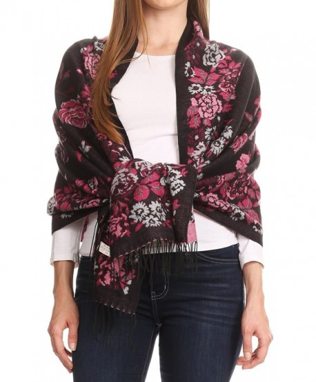 Sakkas Ontario double layer floral Pashmina/ Shawl/ Wrap/ Stole with fringe - 2-black / Pink - C1189IZ4TZ8