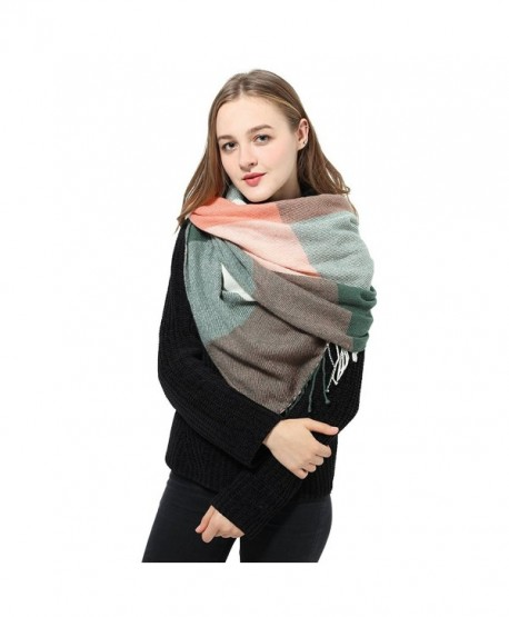 Blanket Scarf Women Plaid Scarf Pashmina Pink Winter Scarf Wrap Shawl for Women - D: Pink Scarf(22*78 Inch) - CU186RGGS24