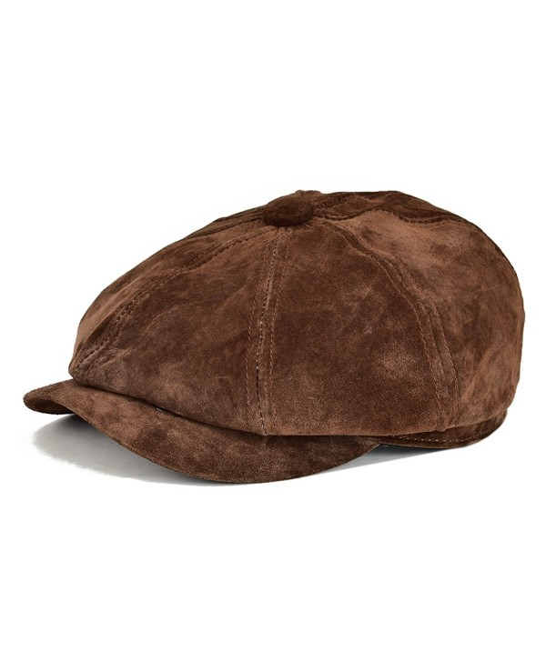 VOBOOM Leather newsboy Retro IVY Hat Cap 8 Pannel Cabbie Classtic Beret Hat - Dark Brown - C71859852YC