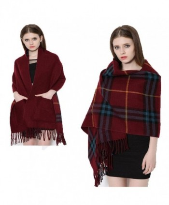 Da Ben Tai Women's Cashmere double sided fringed plaid scarf shawl with pocket - Red Wine - CQ187EDXGZA
