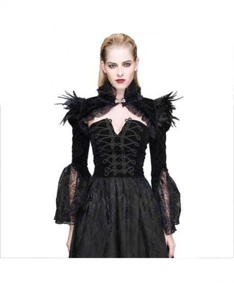 Gothic Steampunk Feathers Capes Lace Tassel Wraps Horn Sleeve Pashmina Shawl - CB17YQXH7OO