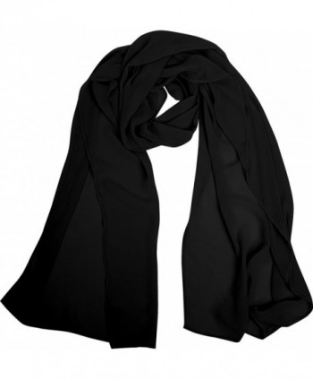Angel-fashions Women's Soft Lightweight Chiffon Shawl Wrap Scarf Stole - Black - C212IE2Z3XL