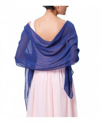 Charming Soft Chiffon Bridal Evening Party Scarves Shawls for Special Occasion - Royal Blue - CE188RDG4WU