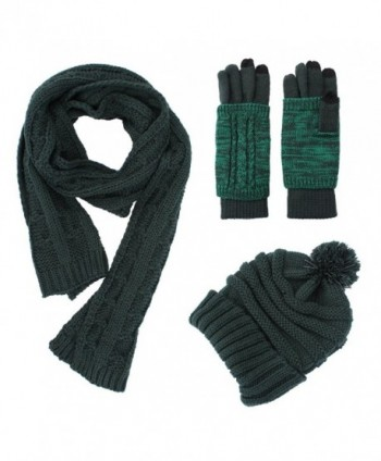 Knit Hat/Scarf/Gloves Set- Women Men Unisex Cable Knit Winter Cold Weather Gift Set - Forest Green - CN187MXX89U