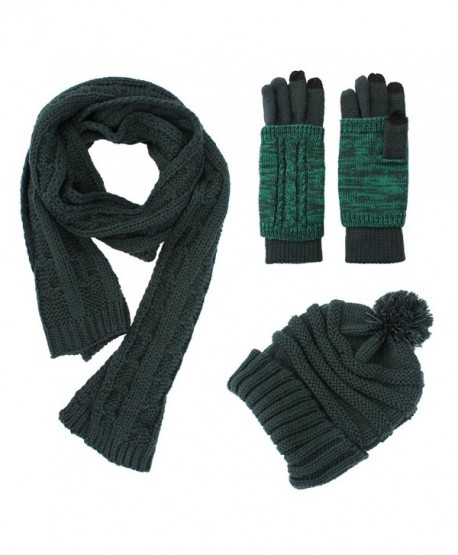 Knit Hat/Scarf/Gloves Set- Women Men Unisex Cable Knit Winter Cold Weather Gift Set - Forest