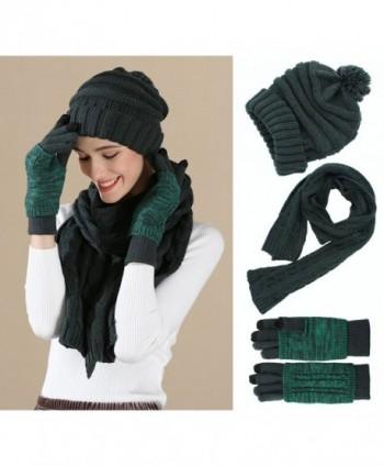 1627c3235a5 Knit Hat Scarf Gloves Set- Women Men Unisex Cable Knit Winter Cold ...