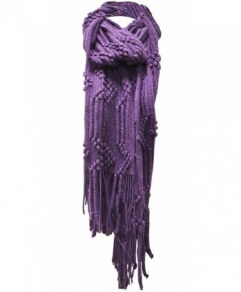 Women's 'Scarf' Soft Warm Winter Knit Tassels Scarf - Amethyst - C6185XE4G8S