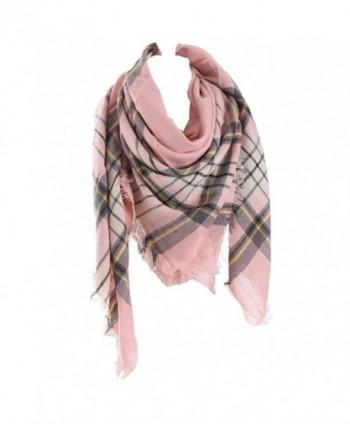 RACHAPE Women Winter Blanket Shawl Scarf Warm Soft Plaid Tartan Wrap - Pink - CW12O748EMG
